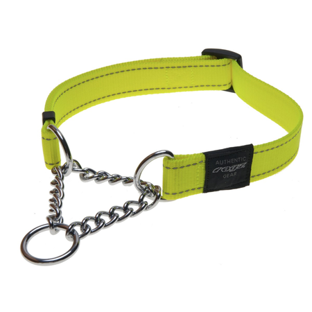 Rogz Obedience Half Check Chain Dog Collar Yellow Lumberjack (43-70cm)
