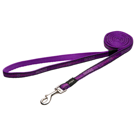 Rogz Purple Chrome Fixed Dog Lead Purple Jellybean (11mm)