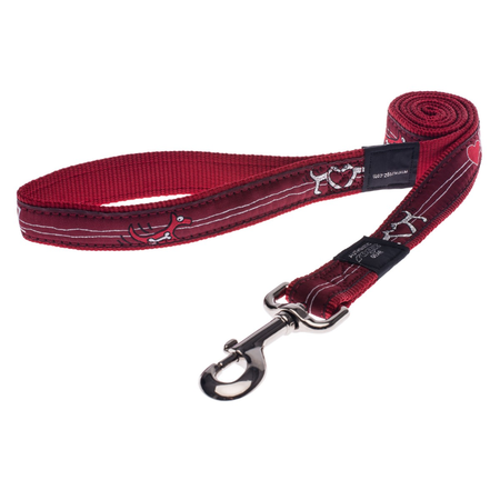 Rogz Red Heart Fixed Dog Lead Red Armed Response (25mm)