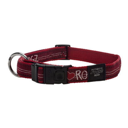 Rogz Red Heart Nylon Dog Collar Red Armed Response (43-70cm)