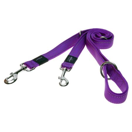 Rogz Reflective, Adjustable, Multi Purpose Dog Lead Purple Snake (16mm)