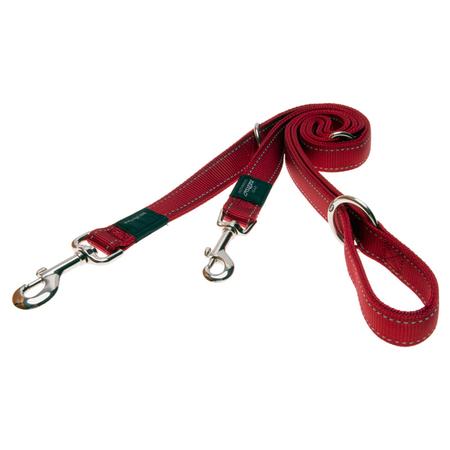 Rogz Reflective, Adjustable, Multi Purpose Dog Lead Red Lumberjack (25mm)