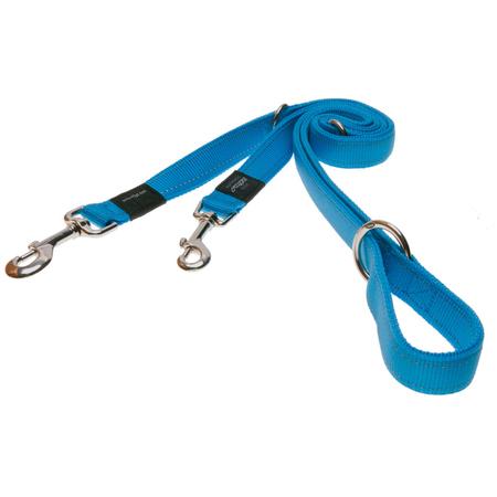 Rogz Reflective, Adjustable, Multi Purpose Dog Lead Turquoise Fanbelt (20mm)