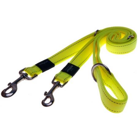 Rogz Reflective, Adjustable, Multi Purpose Dog Lead Yellow Lumberjack (25mm)