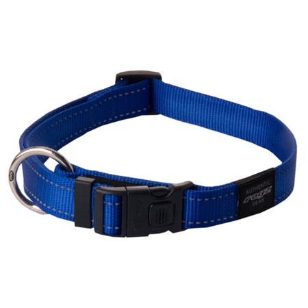 Rogz Reflective Nylon Dog Collar Blue Lumberjack (43-70cm)