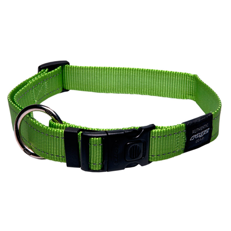 Rogz Reflective Nylon Dog Collar Green Lumberjack (43-70cm)