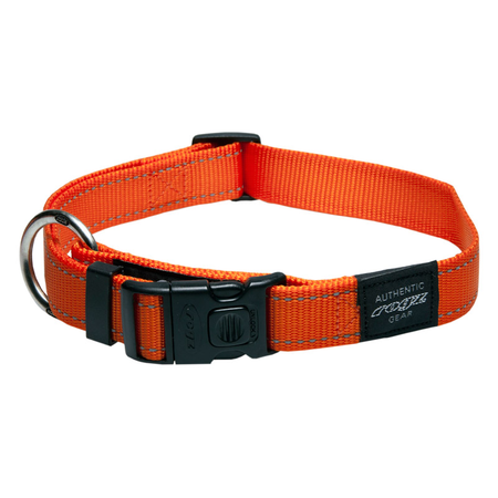Rogz Reflective Nylon Dog Collar Orange Lumberjack (43-70cm)