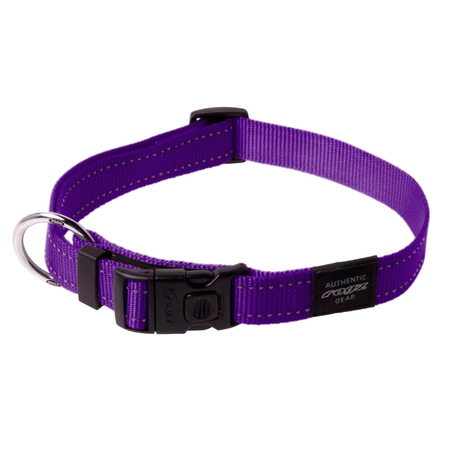 Rogz Reflective Nylon Dog Collar Purple Lumberjack (43-70cm)