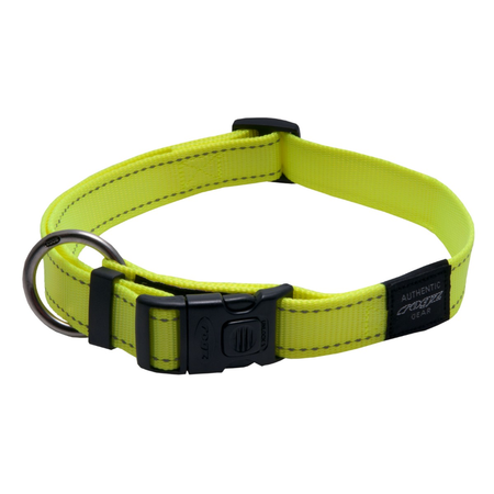 Rogz Reflective Nylon Dog Collar Yellow Lumberjack (43-70cm)