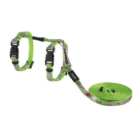 Rogz Reflectocat Fish Design Cat Harness and Lead Set Green X Small