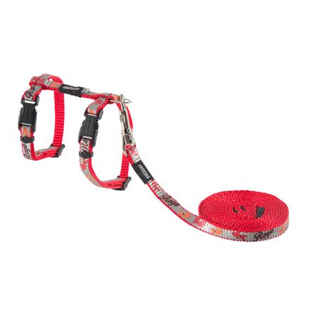 Rogz Reflectocat Fish Design Cat Harness and Lead Set Red X Small