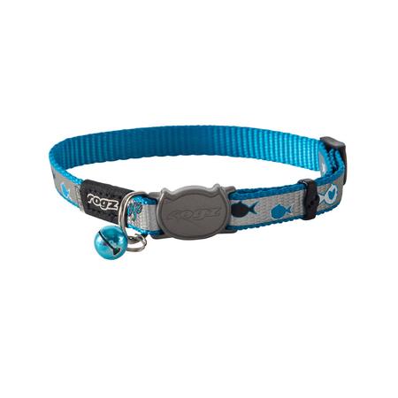 Rogz Reflectocat Fish Design Quick Release Cat Collar Blue Small (11mm)