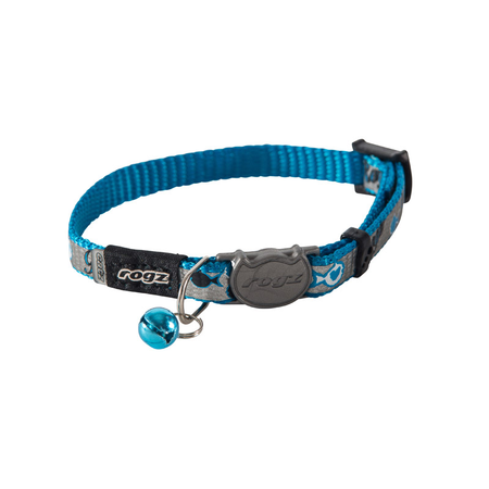 Rogz Reflectocat Fish Design Quick Release Cat Collar Blue X Small (8mm)