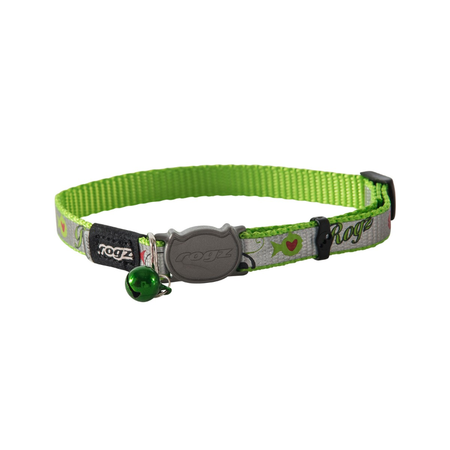 Rogz Reflectocat Fish Design Quick Release Cat Collar Green Small (11mm)