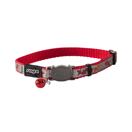 Rogz Reflectocat Fish Design Quick Release Cat Collar Red Small (11mm)