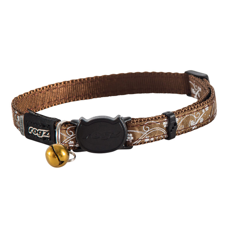 Rogz Silkycat Quick Release Cat Collar Brown Small (11mm)