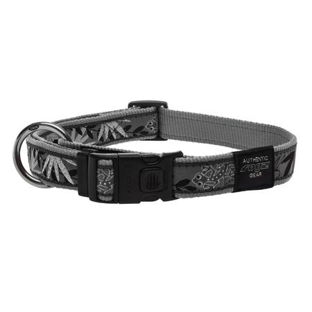 Rogz Silver Gecko Nylon Dog Collar Silver Armed Response (43-70cm)