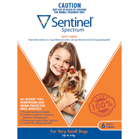 Sentinel Spectrum - Tasty Chew - Flea and Worm Treatment for Extra Small Dogs <4kg