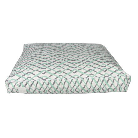 T&S Floor Cushion Mint Herringbone Dog Bed Green Large