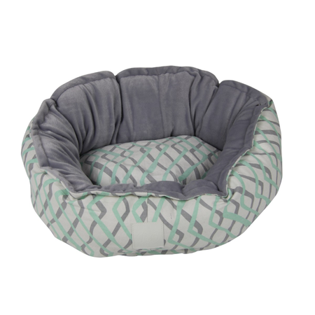 T&S Snug Bed Mint Herringbone Round Dog Bed Green Large (80cm)