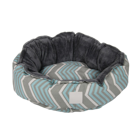 T&S Snug Bed Modern Chevron -Round Dog Bed Grey Small (60cm)