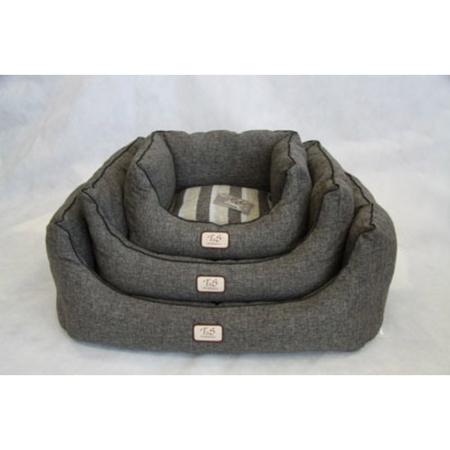 T&S Sorrento Grey/Black Square Dog Bed Grey Medium (76x65x33cm)