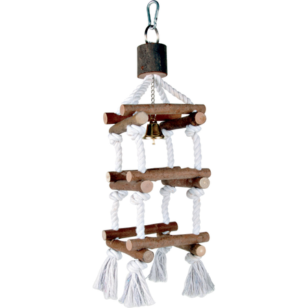 Trixie Natwood Rope and Wooden Ladder Bird Toy Woodgrain 34cm