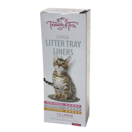 Trouble and Trix Cat Litter Tray Plastic Liners  Large (50x37cm)