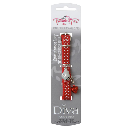 Trouble and Trix Diva Polkadot Cat Collar with Pin Buckle Red 21cm