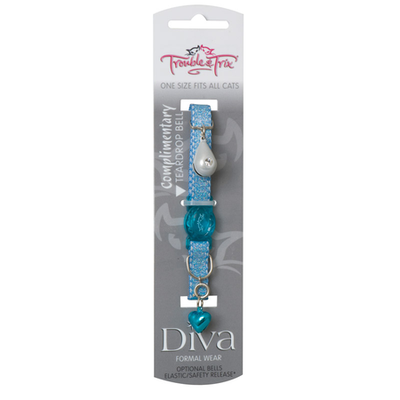 Trouble and Trix Diva Shimmer Quick Release Cat Collar Blue 21cm
