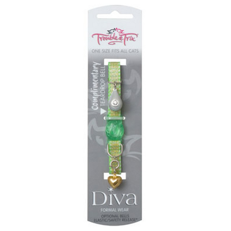 Trouble and Trix Diva Shimmer Quick Release Cat Collar Green 21cm