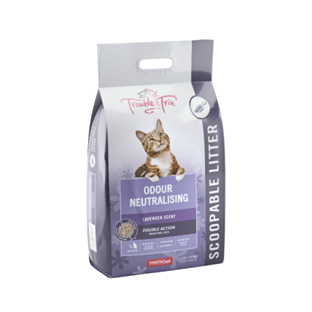 Trouble and Trix Lavender Litter Scented Clumping Cat Litter Purple 15Litre