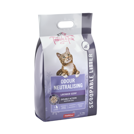 Trouble and Trix Lavender Litter Scented Clumping Cat Litter Purple 7Litre