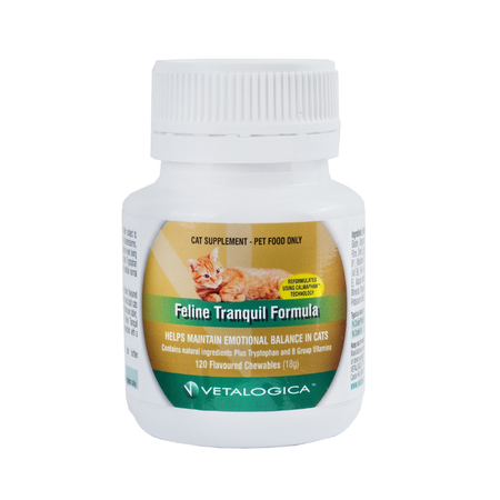 Vetalogica - Feline Tranquil Formula - Anti Anxiety Treatment for Cats - 120 Tablets