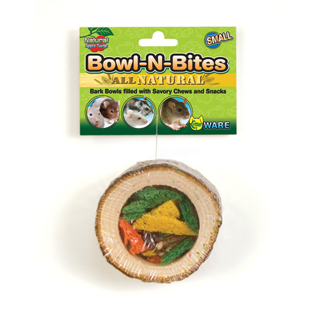 Ware Bowl N Bites Wooden Small Animal Chew Toy Brown Small (4.5Wx4.25Dx3.25HIn)