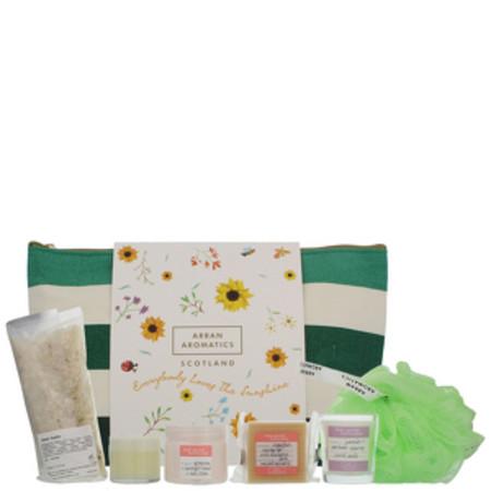 Arran Aromatics Feel Good Formulas Sunshine Travel Bag - Lip Balm 15ml, Hand and Nail Cream 50ml, Muscle Soak 150g, Candle 50ml, Soap 40g and Body Polisher