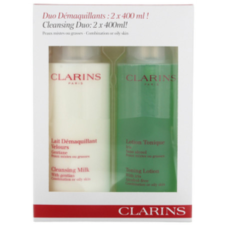 Clarins Cleansing Care Cleansing Milk With Gentian 400ml and Toning Lotion 400ml Combination/Oily Skin