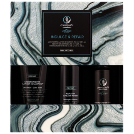 Paul Mitchell Awapuhi Wild Ginger Indulge and Repair - Moisturising Lather Shampoo 250ml, Keratin Cream Rinse 250ml and HydroCream Whip 70ml