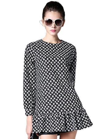 Jollychic Asymmetric O Neck Long Sleeve Print Dress