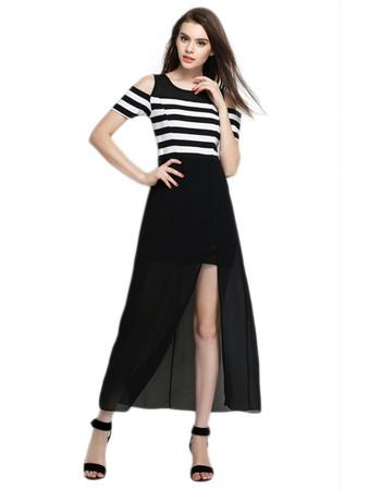 Jollychic Off Shoulder Split High Waist Dress