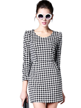 Jollychic Plus Size Cropped Sleeves Black And White Mini Dress