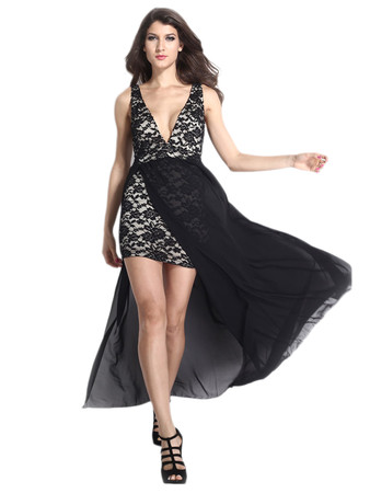 Jollychic Sleeveless Deep V-Neck Lace Maxi Dress With Chiffon Overlay