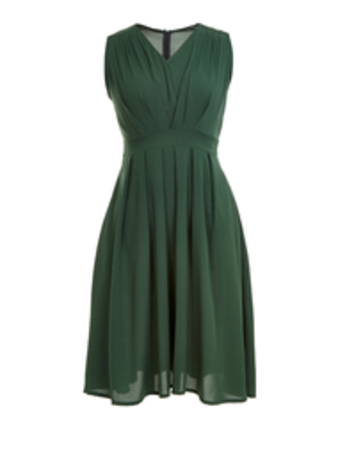 Jollychic Solid Sleeveless V Collar Pleated Dress With Belt