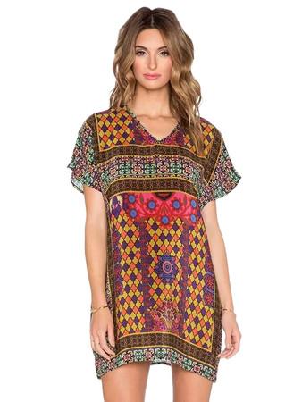 Jollychic Vintage Stylish V Neck Print Dress