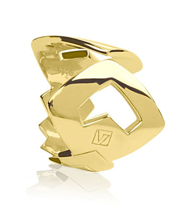 Anguis Geometrical Open Golden Silver Ring