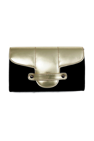 Bond Street Black Cloth and Leather Clutch