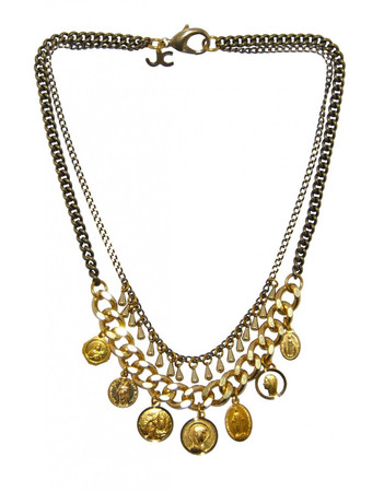 Brass and Pearl Necklace with Charms and Medals LOUXOR JCN22