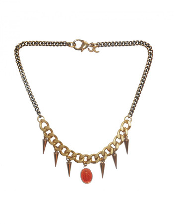Bronze Brass Necklace with Spikes and an Orange Charm LADYLAND J