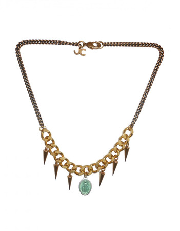 Bronze Brass Necklace with a Blue Charm LADYLAND JC23