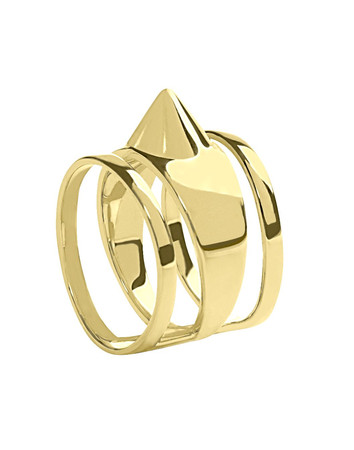 Carcere Stud and Three Rings Gold Plated Silver Ring